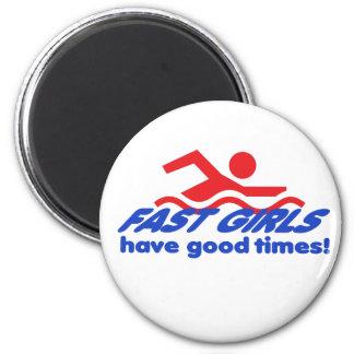 Fast Girls Round Magnet