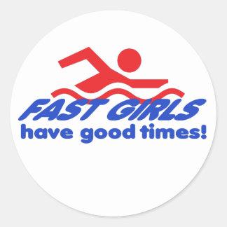 Fast Girls Round Stickers
