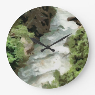 Fast moving river large clock