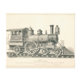 Fast Passenger Locomotive Train Engraving No.43 Stretched Canvas Prints