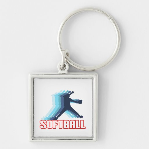 Fast Pitch Softball Silhouette Keychain