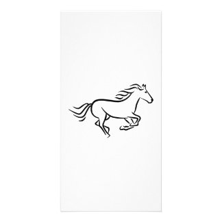 Fast running horse photo card