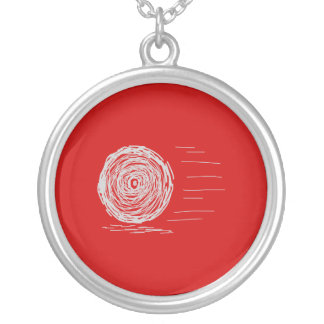 Fast. Rush. Symbol in Gray on Red. Round Pendant Necklace