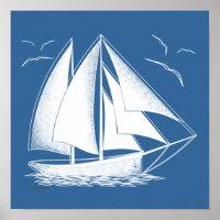 Fast sailing! nautical, vintage. poster
