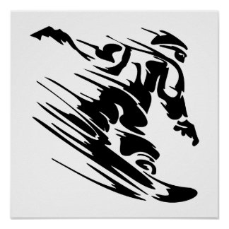 Fast Snowboarder Poster