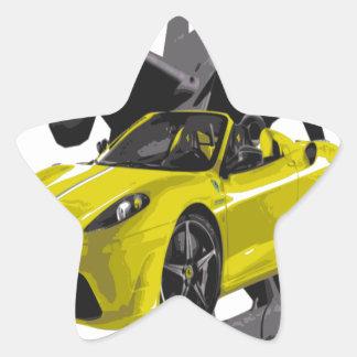 FAST YELLOW CONV CAR STAR STICKER