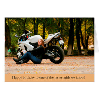 Fastest Girl Sport Bike Motorcycle Birthday Card