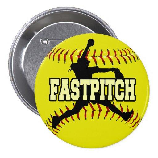 Fastpitch 3 Inch Round Button