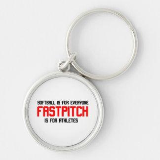 FastPitch Llavero Redondo Plateado
