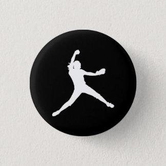 Fastpitch Silhouette Button Black