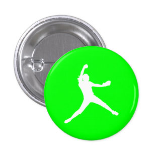 Fastpitch Silhouette Button Green