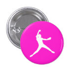 Fastpitch Silhouette Button Pink