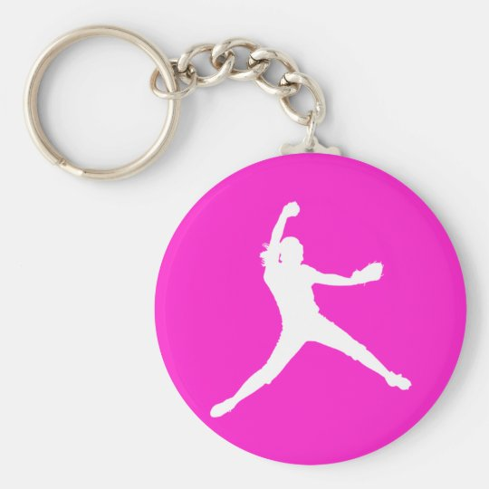 Fastpitch Silhouette Keychain White on Pink