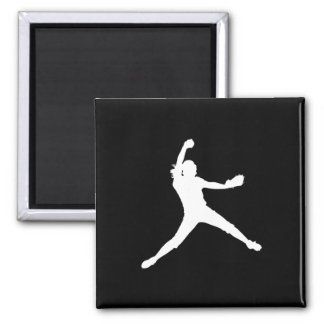 Fastpitch Silhouette Magnet Black