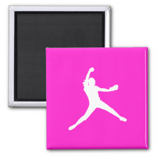 Fastpitch Silhouette Magnet Pink