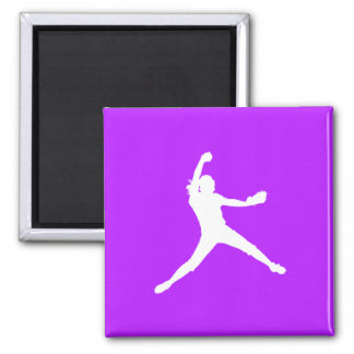 Fastpitch Silhouette Magnet Purple