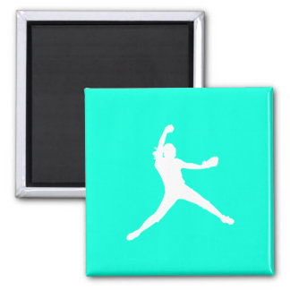 Fastpitch Silhouette Magnet Turquoise