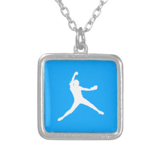 Fastpitch Silhouette Necklace Blue