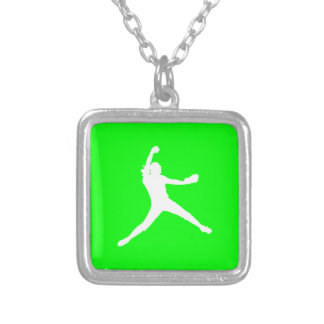 Fastpitch Silhouette Necklace Green