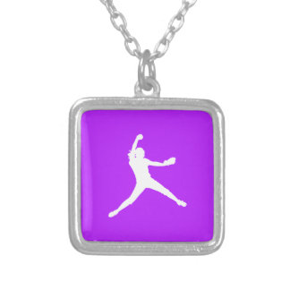 Fastpitch Silhouette Necklace Purple