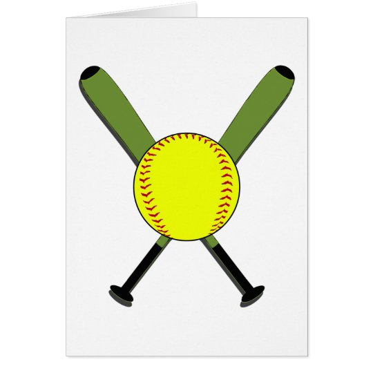 Fastpitch Softball and Crossed Bats Card