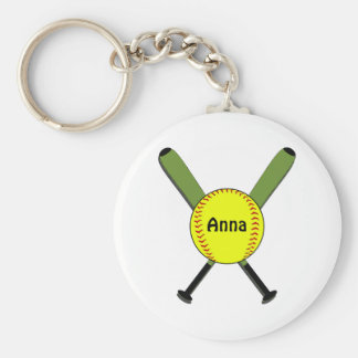 Fastpitch Softball and Crossed Bats Basic Round Button Keychain