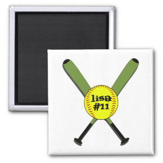 Fastpitch Softball and Crossed Bats 2 Inch Square Magnet
