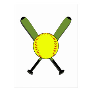 Fastpitch Softball and Crossed Bats Postcard