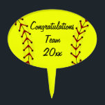 "Fastpitch Softball Cake Topper<br><div class=""desc"">This cute sports cake topper for fastpitch softball will make celebrations,  parties,  or banquets fun.  Easily personalize for players or teams by changing the template text.</div>"