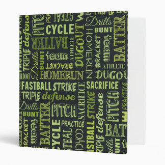 Fastpitch Softball Chalkboard Terms 3 Ring Binder