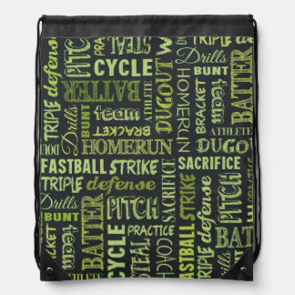 Fastpitch Softball Chalkboard Terms Drawstring Backpack