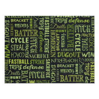 Fastpitch Softball Chalkboard Terms Poster