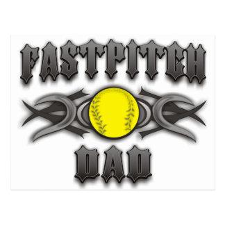 Fastpitch Softball Dad Tribal Postcard
