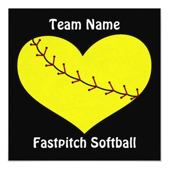 Fastpitch Softball Heart Invitations