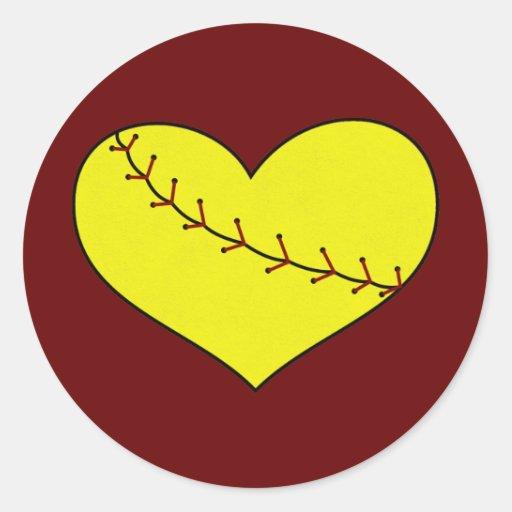 Fastpitch Softball Heart Stickers