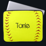 """Fastpitch Softball Laptop Sleeve<br><div class=""""desc"""">This 15&quot; fastpitch softball laptop sleeve can be customized with a player name,  team name,  player number or personalized for coach.</div>"""