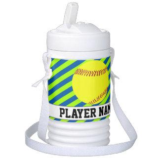 Fastpitch Softball Lime Green & Blue Custom Text Cooler