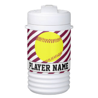 Fastpitch Softball Maroon Striped Custom Text Jugs Beverage Cooler