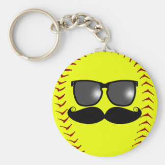 Fastpitch Softball Mustache Keychain