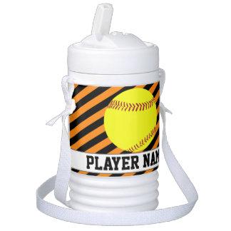 Fastpitch Softball Orange Black Team & Player Name Cooler