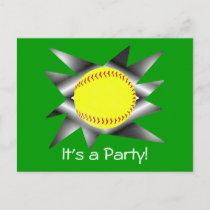 Fastpitch Softball Party Invitation