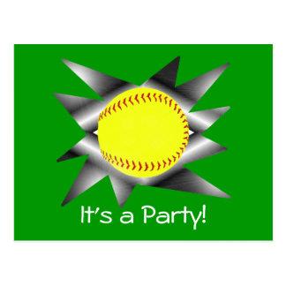 Fastpitch Softball Party Invitation Postcard