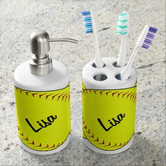 Fastpitch Softball Soap Dispenser & Toothbrush Holder