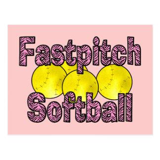 Fastpitch Softball Zebra Style Postcard
