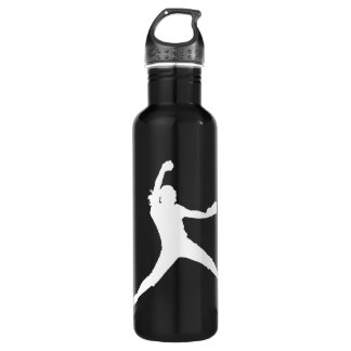 Fastpitch White Silhouette Stainless Steel Water Bottle