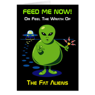 Fat Alien Invasion Greeting Card