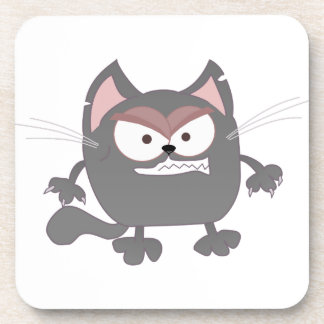 Fat Angry Grey Kitty Cat Beverage Coaster