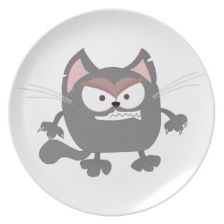 Fat Angry Grey Kitty Cat Dinner Plates