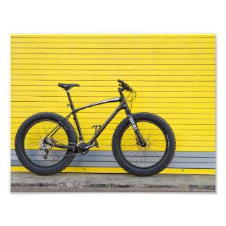 Fat bike on Yellow wall Photo Print