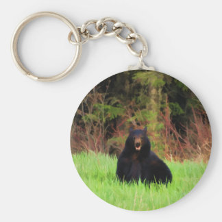 Fat Black Bear and Wild Grasses Wildlife Art Keychain